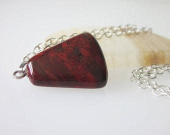 Jasper Necklace, Red Jasper Gemstone, Semiprecious Stone Jewelry, Wine Red Pendant, Triangle Shaped Minimalist Necklace, Red Jasper Jewelry