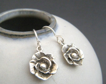 small silver rose flower earrings sterling silver dangle rustic jewelry oxidized black boho bohemian nature simple gardener gift leverback