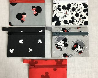Mickey/Minnie Mouse Coin Purse, Earbud,  Credit Card, Music Player Holder