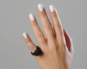 Small Black Leather Ring