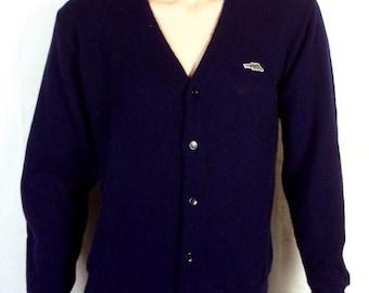 vtg 60s Sears Navy Blue Dragon Logo Emblem Cardigan Sweater Indie Mod Punk sz M