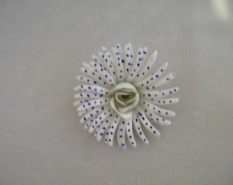 Vintage White Blue Polka Dot Enamel Flower Pin Brooch