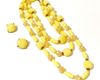 Plastic Bead Necklace Earring Set, Iridescent Yellow, Multi Shapes, Textured Raised Design, Swirl Beads, Filigree Gold Tone Caps, Vintage