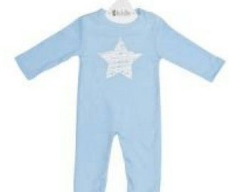 Blue with white star cotton romper