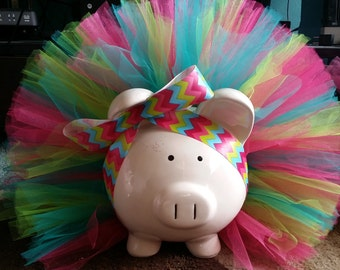 Pink, Teal and Lime Green Tutu Piggy Bank with Jewels