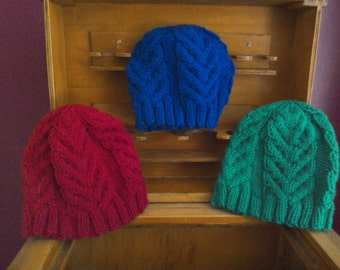 Staghorn Cable Hat for kids - hand knitted handknit kids winter hat with cables