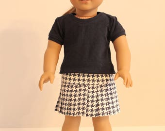 Navy and White Houndstooth Pleated Skirt