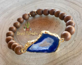 Custom Druzy and Wood Bracelet {{Pick your stone}}