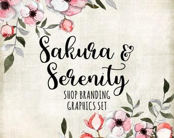 Cherry Blossom Shop Branding Banners, Avatar Icons, Business Card, Logo Label + More - 13 Premade Graphics Files - SAKURA & SERENITY