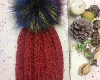 Women's, ladies, cosy knit, cable design beanie, winter hat, ski, pompom, gift idea
