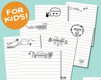Daily Journal Printables for Kid's Bullet Journal: Notebook Themed Doodle Style Pages