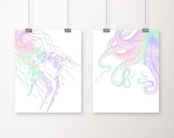 Nautical Colorful Set of 2 Art Prints - Nautical Decor - Octopus Art - Jellyfish Art - Nautical Art