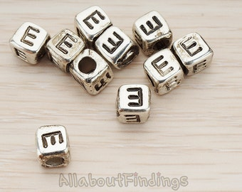 PDT1135-E-AS // Glossy Antique Silver Plated Initial Cube Metal Bead, 4 Pc