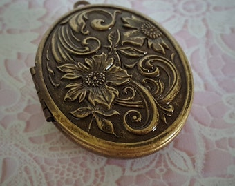 "Ready to Fill (Empty) Solid Perfume Locket, Antique Brass Finish, 44mm x 33mm, with Refillable Pan -- ""Floral""  #1583"