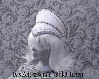 Elizabethanischer Kopfschmuck, French Hood, Renaissance, weiß