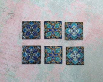 Set B of Six Dollhouse Miniature Teal & Blue Tiles for Decorating