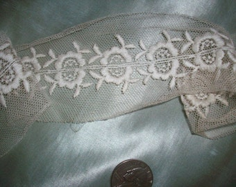 """Antique french cotton net embroidered lace 2"""" wide beautiful  pattern"""