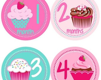 Baby Monthly Milestone Growth Stickers Girly Pink Aqua Cupcakes MS516 Nursery Theme Baby Shower Gift Baby Photo Prop