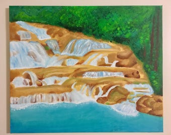 "Dunn's River Waterfall Jamaica Oil Painting 20""x24"" Canvas"