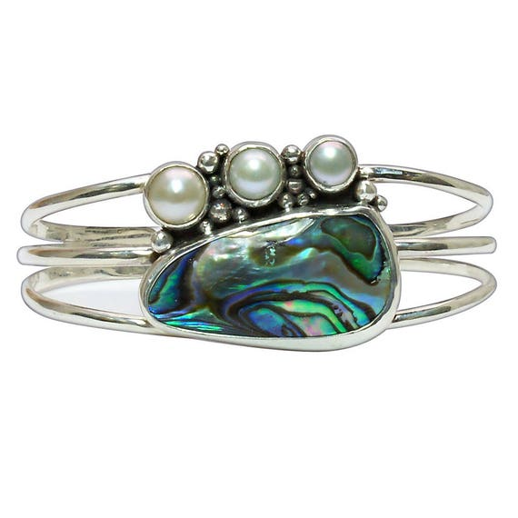 Abalone Shell, Fresh Water Pearl and Sterling Silver Cuff Bracelet, bablj2856