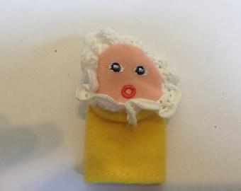 Vintage Finger Puppet! Felt Finger Puppet Baby with Bonnet- Rare Vintage Finger Puppet