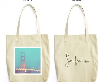 San Francisco tote bag, peppermint blue bag, market tote bag, Golden Gate Bridge photo, bokeh, gold red, sparkle, office tote, baby bag