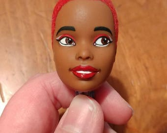 Repainted/flocked Barbie head, Christie/Asha face mold