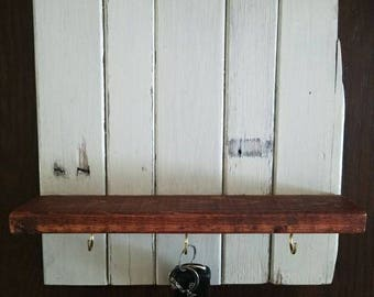 Custom wall key hook shelf made from reclaimed wood. Perfect for entryway!