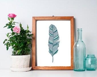 Feather Print  8x10 - Home Decor, Vintage, Printable Art, Green, Wall Art, Turquoise, Nursery Art, Nursery Decor, Wall Art