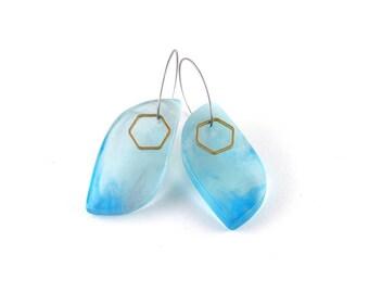 Hoop la Hoop; ice-blue contemporary handmade resin with brass geo detail
