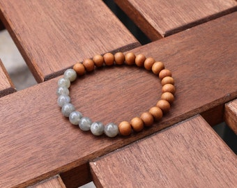 Labradorite beaded bracelet, sandalwood bracelet, wood and gemstone bracelet, labradorite jewelry, yoga bracelet, natural stone and wood