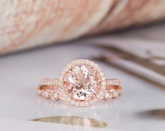 Rose Gold Engagement Ring Morganite Halo Diamond Half Eternity Bridal Set Wedding Ring Art Deco Anniversary Gift for Her Women Promise