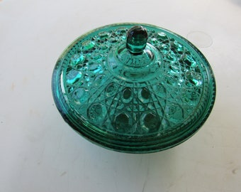 Teal Green Buttons Glass Dish and Lid