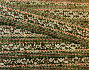 Wide Gimp - Wide Flat Trim - Green and Coral Flat trim - Earth Tone Decorative Trim - Earth Tone and Turquoise Trim Braid - 1 Yard
