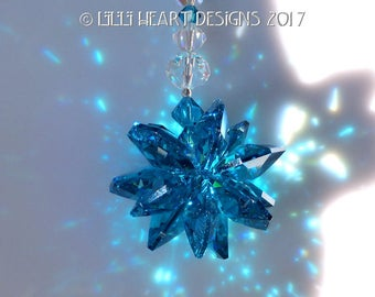 m/w Swarovski Crystal Extemely Rare All Indicolite (Teal) Octagons Star with AB Beads Suncatcher Car Charm Ornament Lilli Heart Designs