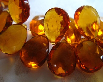 Yellow QUARTZ Briolettes / Faceted Pear Bead / 2-10 pcs, 11.5-13+ mm / Golden Madeira Citrine / November Birthstone giant hydqtz29 bsc solo