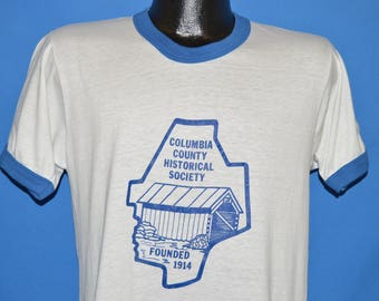 80s Columbia Country Historical Society Ringer t-shirt Medium
