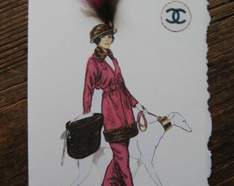 1904 Coco Chanel Maroon Outfit with fur and dog Fashion Illustration note card