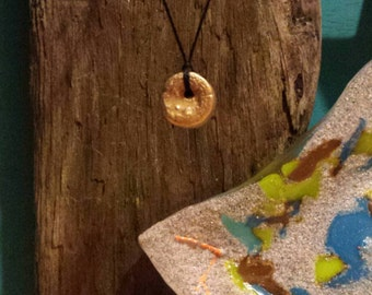 Lake Michigan 18 kt. Gold Leafed Crinoid Pendant Necklace