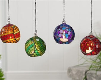 Two Mosaic Glass Orb Votive Candle holder