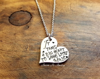 It Takes A Big Heart To Shape Little Minds Necklace, Teacher Appreciation Necklace, Teacher Appreciation, Teacher Gift, Teacher Keepsake