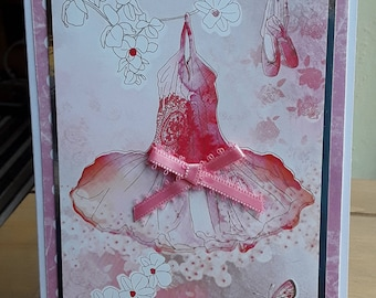 Greeting Card, Dress, Pink, Ribbon