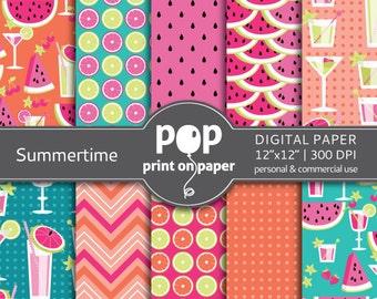 Summer digital paper SUMMERTIME digital paper, bbq invitation, watermelon digital paper, colorful luau invitation, background paper pattern