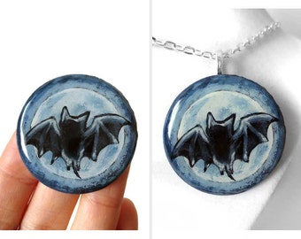 Bat Necklace, Full Moon Pendant, Halloween Jewelry, Bat Wings, Hand Painted Wood, Gothic Gift Idea, For Her, Resin Art, Original Painting