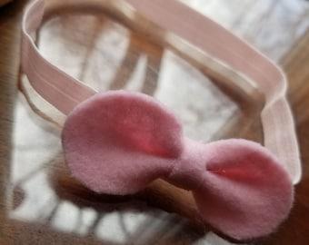Light pink felt bow headband