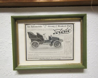 "Framed 1903 model "" TOLEDO 4 cylinder TOURING CAR "" Harper's  magazine ad """