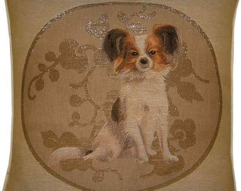 Papillon in Silver Circle Tapestry Cushion Pillow Sham