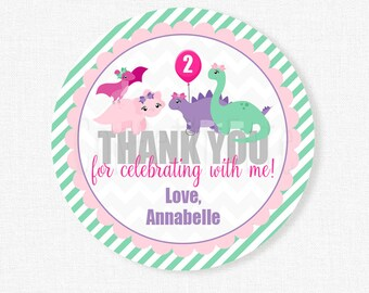 Dinosaur Favor Tags, Dinosaur Girl Party Favors, Dinosaur Birthday Favor Tags, Personalized