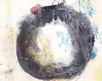 Enso abstrakte ich - Februar 2017, Malerei auf Papier, 5 x 5, kleine Kunstwerk
