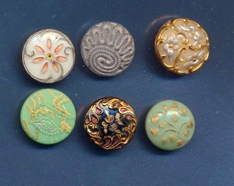 Antique Victorian Green Glass Buttons ca. 1890's Lot of 6